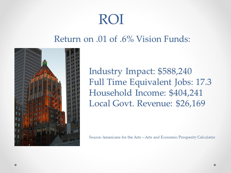 Return on.01 of.6% Vision Funds: Industry Impact: $588,240 Full Time Equivalent Jobs: 17.3 Household Income: $404,241 Local Govt.