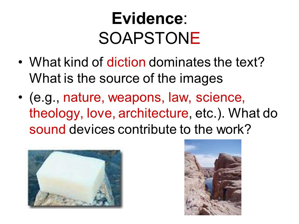 Evidence: SOAPSTONE What kind of diction dominates the text.