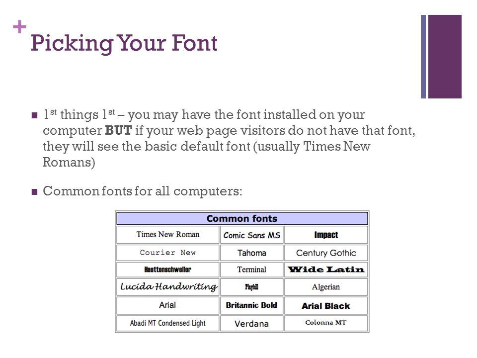 Text & Font Styles Unit 3 Lesson Different Font Categories
