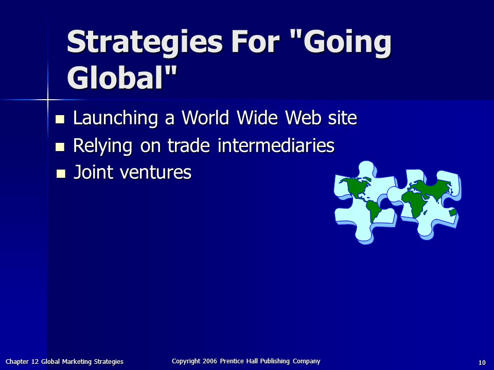 Chapter 12 Global Marketing Strategies Copyright 2006 Prentice Hall Publishing Company 10 Joint ventures Joint ventures Launching a World Wide Web site Launching a World Wide Web site Relying on trade intermediaries Relying on trade intermediaries Strategies For Going Global