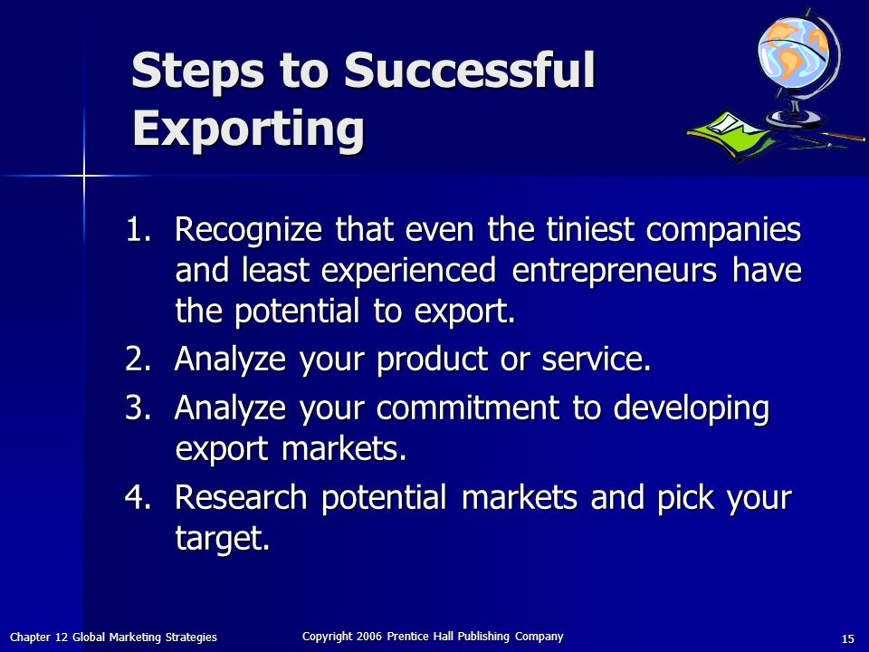 Chapter 12 Global Marketing Strategies Copyright 2006 Prentice Hall Publishing Company 15 Steps to Successful Exporting 1.