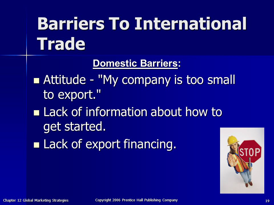 Chapter 12 Global Marketing Strategies Copyright 2006 Prentice Hall Publishing Company 19 Barriers To International Trade Attitude - My company is too small to export. Attitude - My company is too small to export. Lack of information about how to get started.