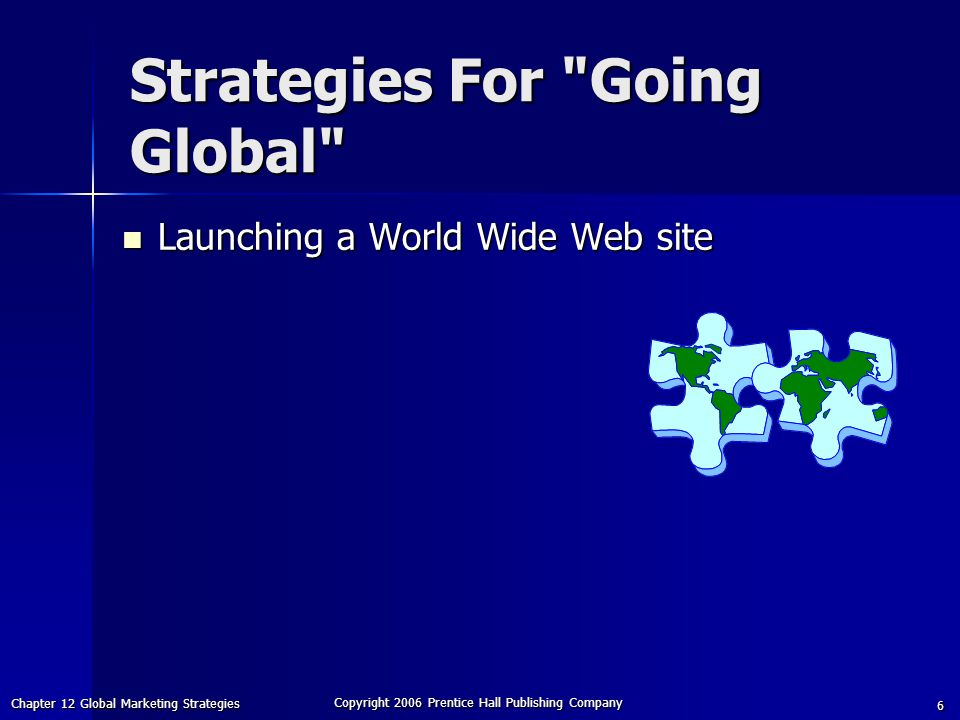 Chapter 12 Global Marketing Strategies Copyright 2006 Prentice Hall Publishing Company 6 Strategies For Going Global Launching a World Wide Web site Launching a World Wide Web site