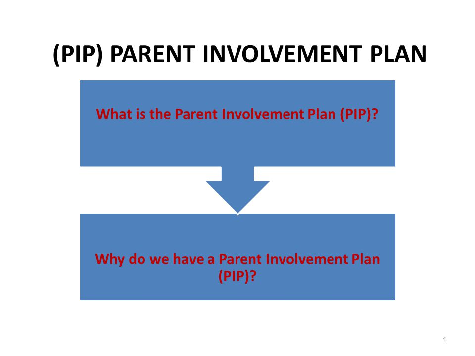 What is the Parent Involvement Plan (PIP). Why do we have a Parent Involvement Plan (PIP).