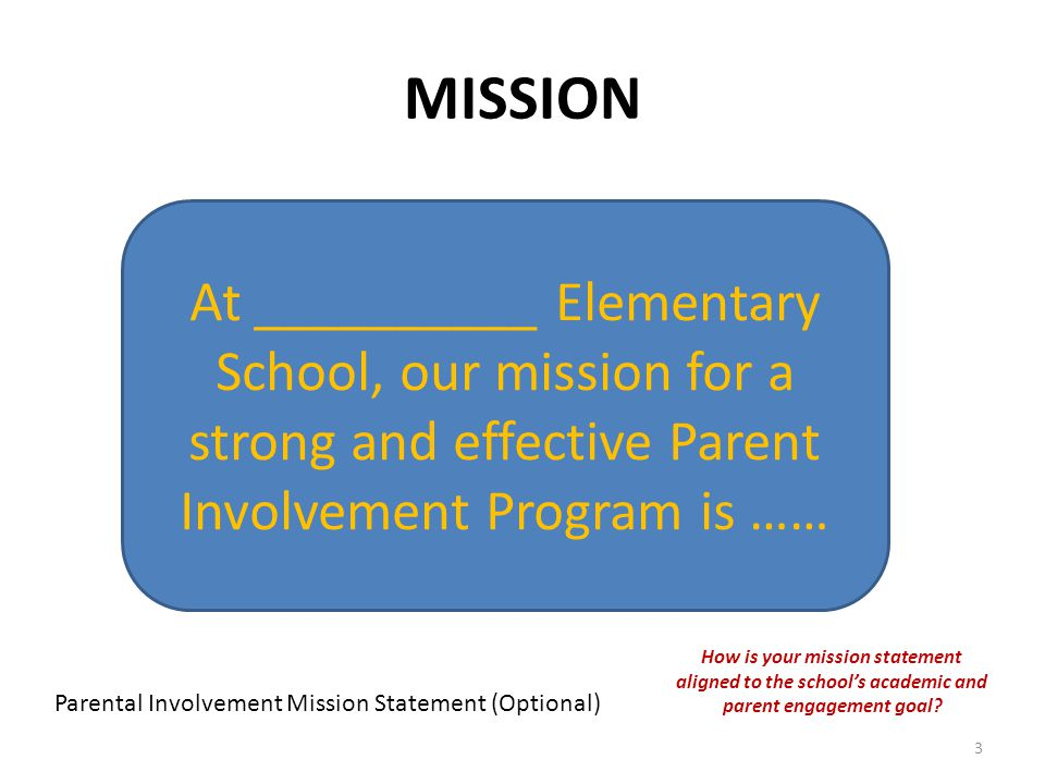 MISSION Parental Involvement Mission Statement (Optional) At __________ Elementary School, our mission for a strong and effective Parent Involvement Program is …… How is your mission statement aligned to the school's academic and parent engagement goal.