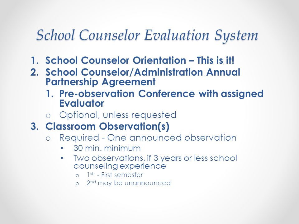 Elements: Management (MS) MS 1 The professional school counselor works with school administration to develop an individual Annual Partnership Agreement defining the school counselor's role in the school counseling program.