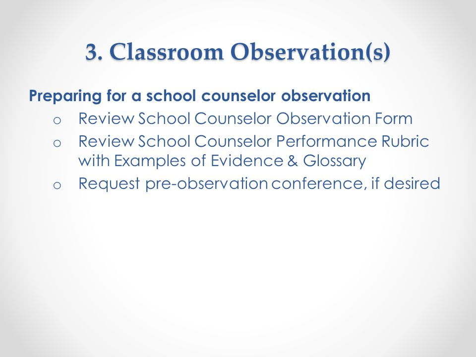 Lesson Plans The review and assessment of school counselor's lesson plans (before, during, and/or after the observation) will enable the evaluator to respond to the Observation Standard components.