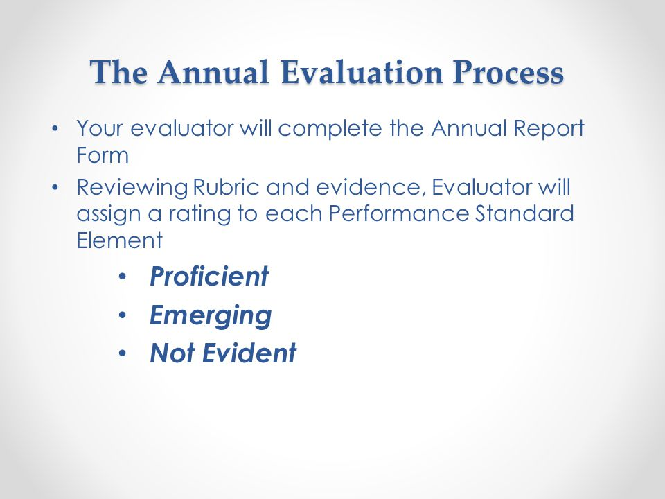 The Annual Evaluation Process Observations and year-long performance Performance Rubric Standards and Elements Counselor Documentation Reviewed o School Counselor/Administrator Annual Partnership Agreement o Closing the Gap Action Plan & Results, if available o Core Curriculum Action Plan & Results, if available o Small Group Action Plan & Results, if available o Program Assessment o Curriculum Crosswalk o Other