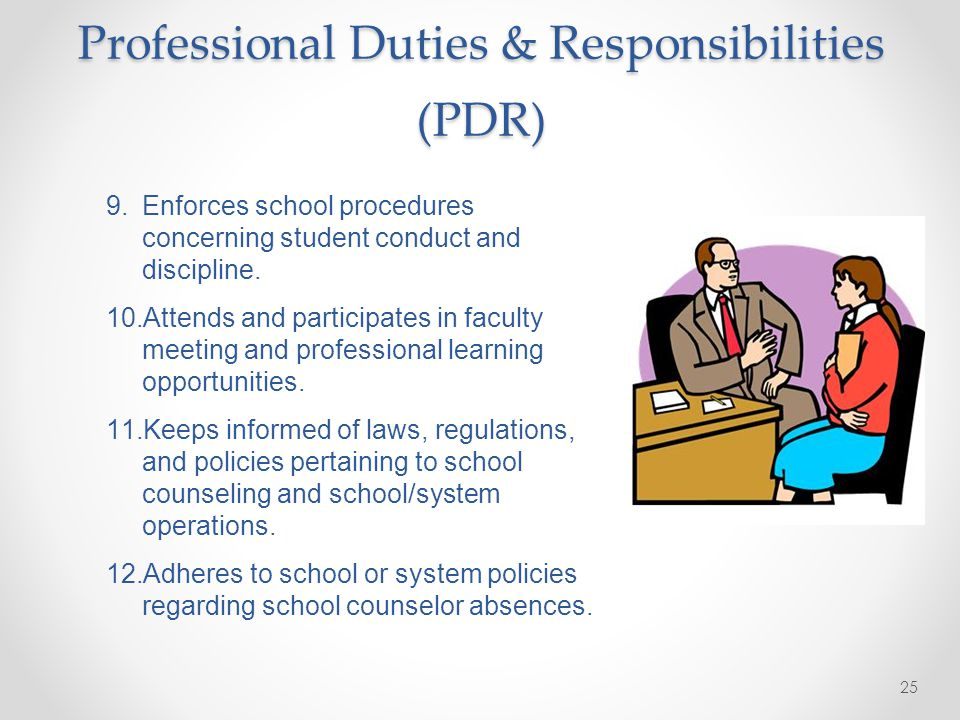 24 Professional Duties & Responsibilities (PDR) 5.Interacts in a professional manner with students, parents, staff, and community.