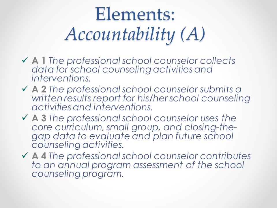 Standard 1: Accountability (A) The professional school counselor monitors and evaluates the processes and results of the school counseling program.