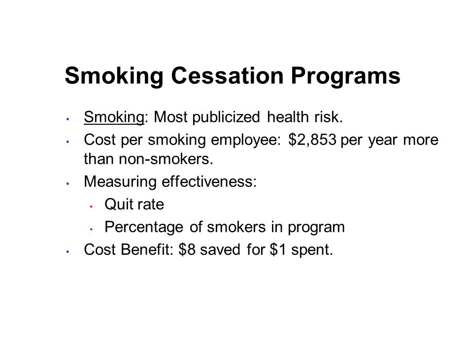 Smoking Cessation Programs Smoking: Most publicized health risk.