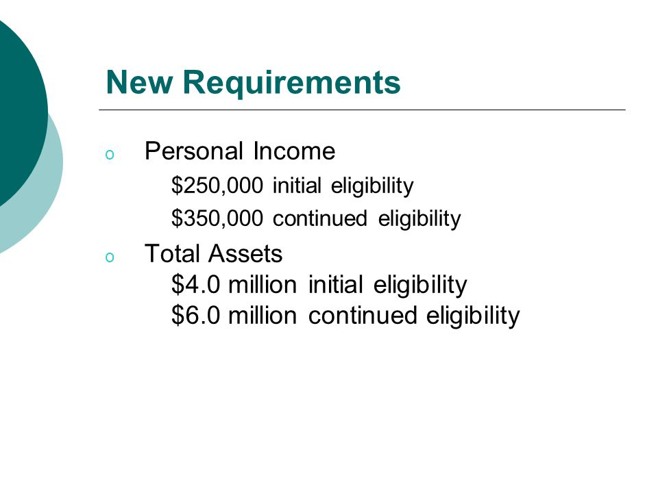 New Requirements o Personal Income $250,000 initial eligibility $350,000 continued eligibility o Total Assets $4.0 million initial eligibility $6.0 million continued eligibility