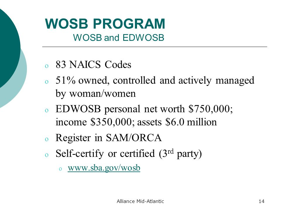 WOSB PROGRAM WOSB and EDWOSB o 83 NAICS Codes o 51% owned, controlled and actively managed by woman/women o EDWOSB personal net worth $750,000; income $350,000; assets $6.0 million o Register in SAM/ORCA o Self-certify or certified (3 rd party) o     Alliance Mid-Atlantic14