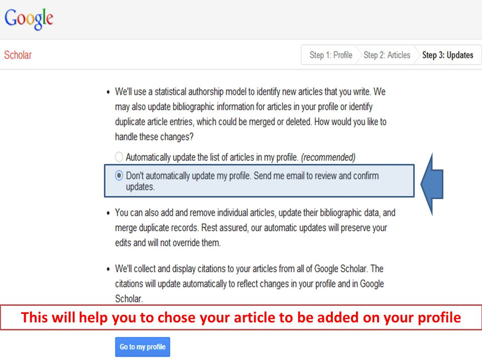 Setting up a Profile LRC Information Literacy Series: 7 (Google