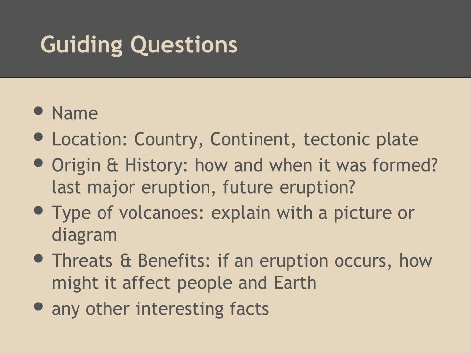 guiding questions for research papers Use the following list of 101 research paper topics as a starting point for your paper as you begin learning and writing about your topic, you should revise or amend your research question or thesis statement to better match the information that you are interpreting, analyzing, and expressing.