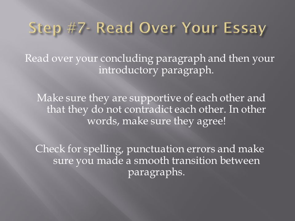 Read over your concluding paragraph and then your introductory paragraph.