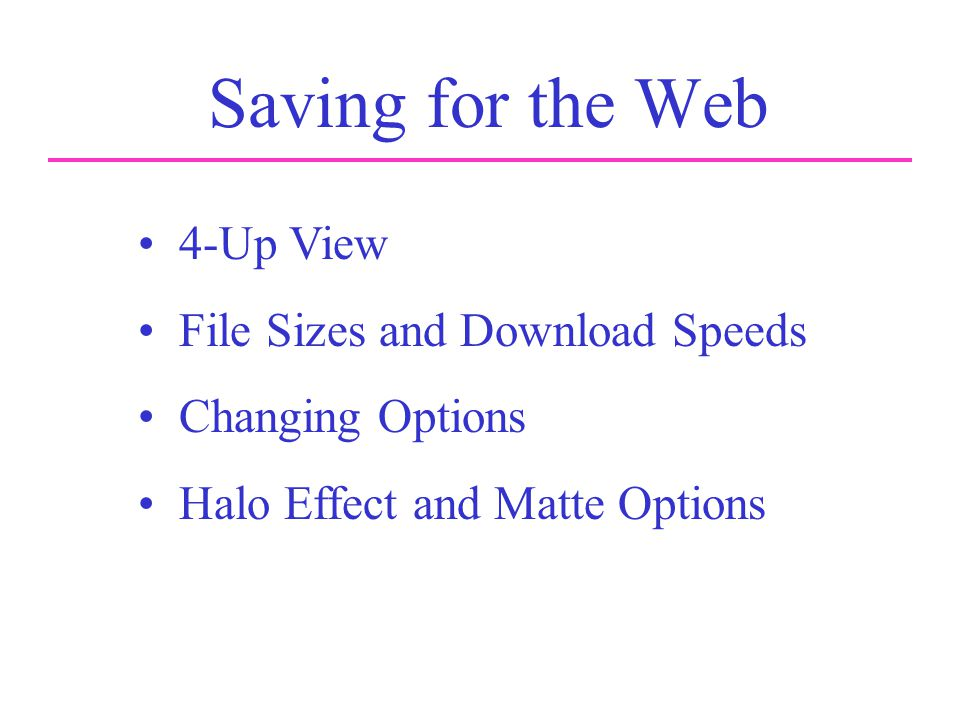 Saving for the Web 4-Up View File Sizes and Download Speeds Changing Options Halo Effect and Matte Options
