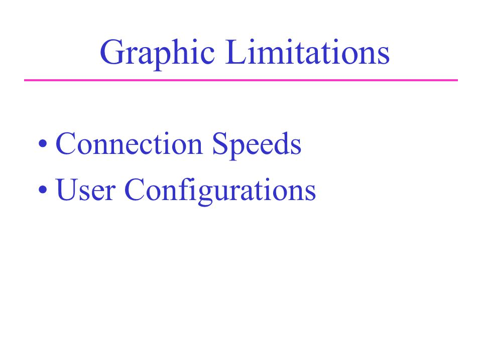 Graphic Limitations Connection Speeds User Configurations