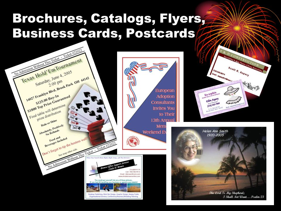 Brochures, Catalogs, Flyers, Business Cards, Postcards