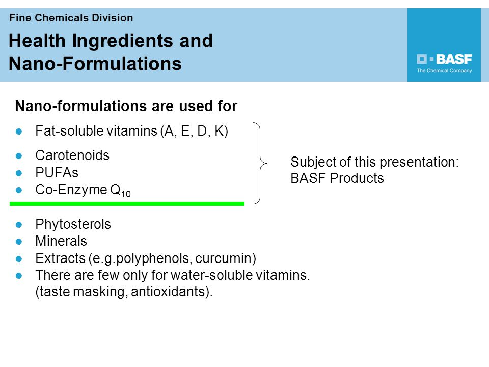 Fine Chemicals Division Human Nutrition Helping Make
