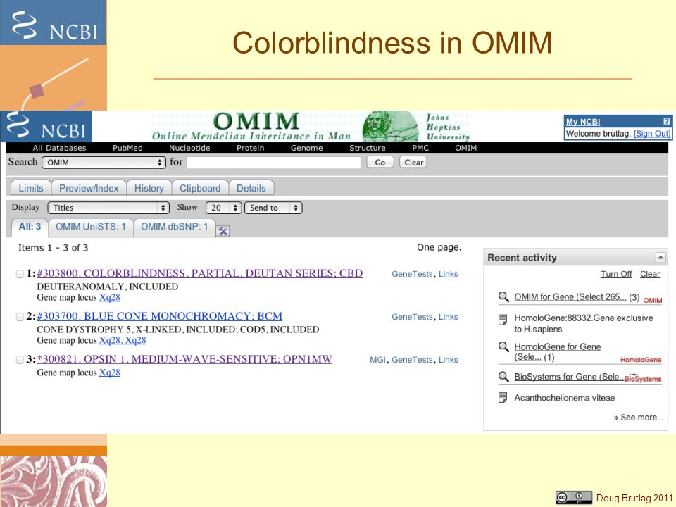 Doug Brutlag 2011 Colorblindness in OMIM