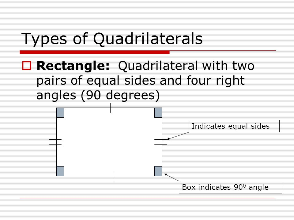 Types of Quadrilaterals  Rectangle: Quadrilateral with two pairs of equal sides and four right angles (90 degrees) Indicates equal sides Box indicates 90 0 angle