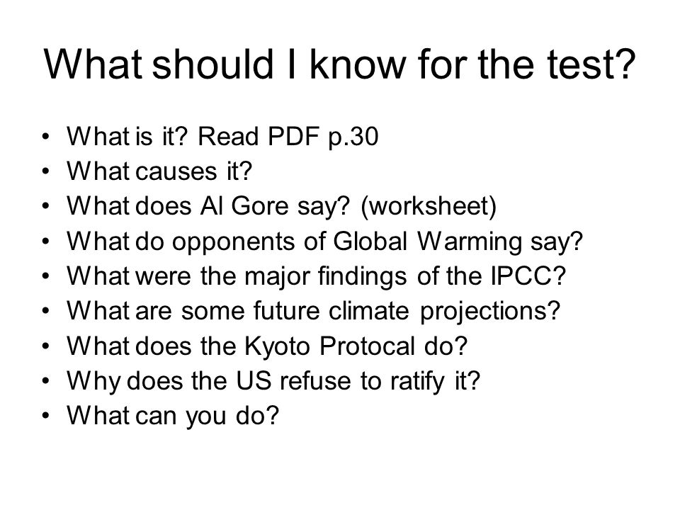 What should I know for the test. What is it. Read PDF p.30 What causes it.