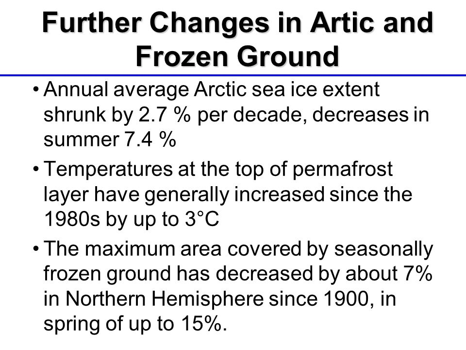 Further Changes in Artic and Frozen Ground Annual average Arctic sea ice extent shrunk by 2.7 % per decade, decreases in summer 7.4 % Temperatures at the top of permafrost layer have generally increased since the 1980s by up to 3°C The maximum area covered by seasonally frozen ground has decreased by about 7% in Northern Hemisphere since 1900, in spring of up to 15%.