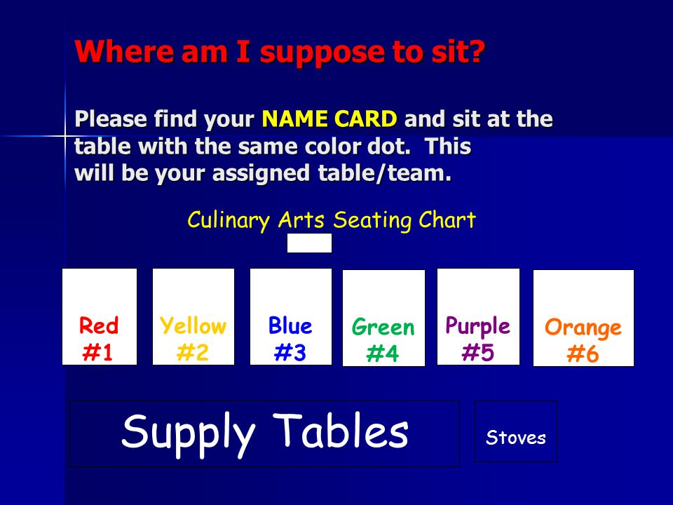Where am I suppose to sit. Please find your NAME CARD and sit at the table with the same color dot.