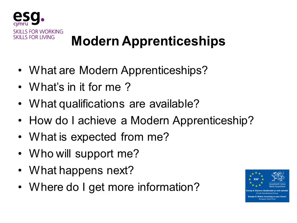 Modern Apprenticeships What are Modern Apprenticeships.