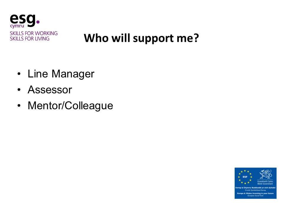 Who will support me Line Manager Assessor Mentor/Colleague
