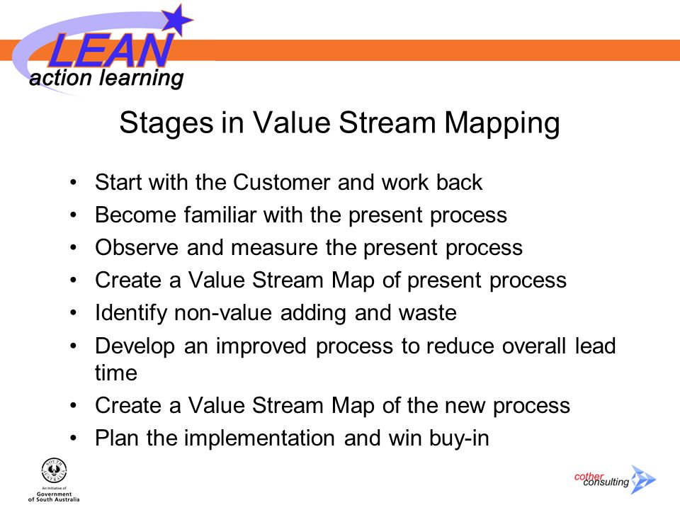 Stages in Value Stream Mapping Start with the Customer and work back Become familiar with the present process Observe and measure the present process Create a Value Stream Map of present process Identify non-value adding and waste Develop an improved process to reduce overall lead time Create a Value Stream Map of the new process Plan the implementation and win buy-in