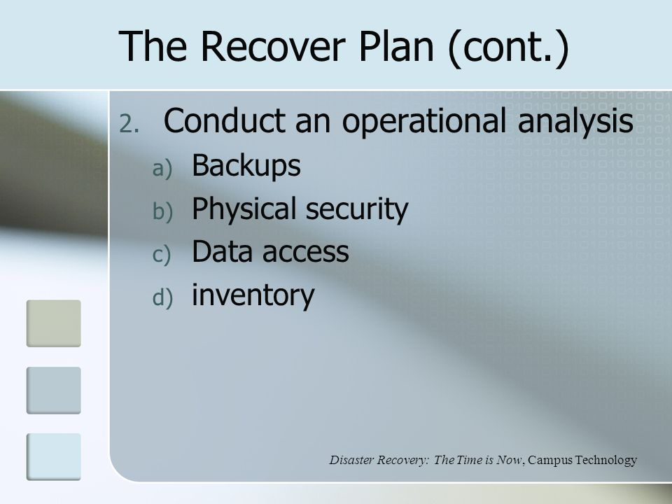 The Recover Plan (cont.) 2.