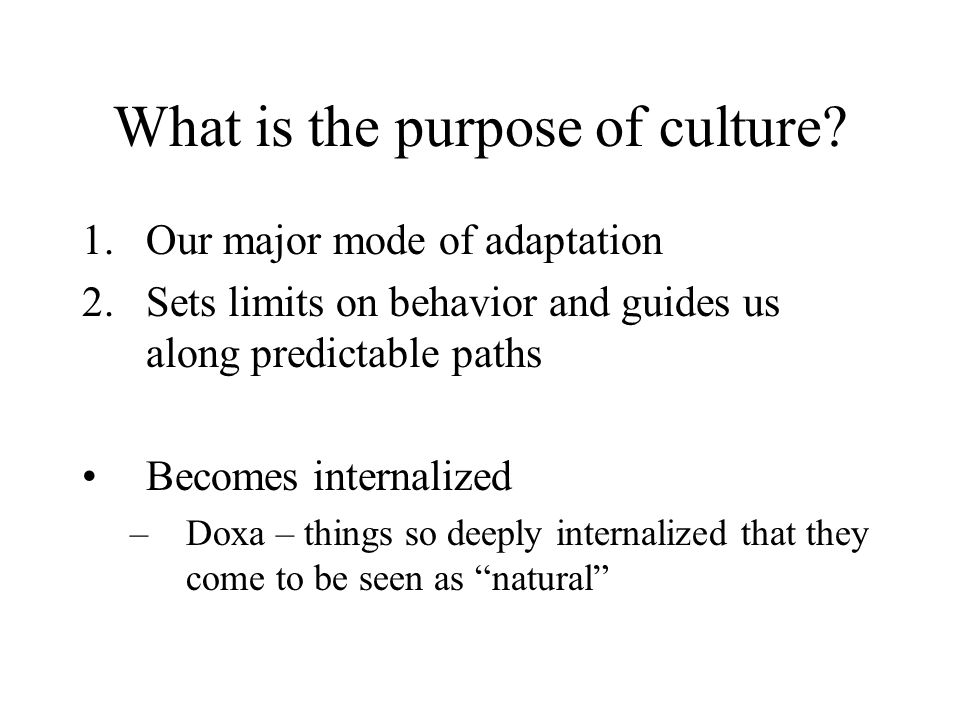 What is the purpose of culture.