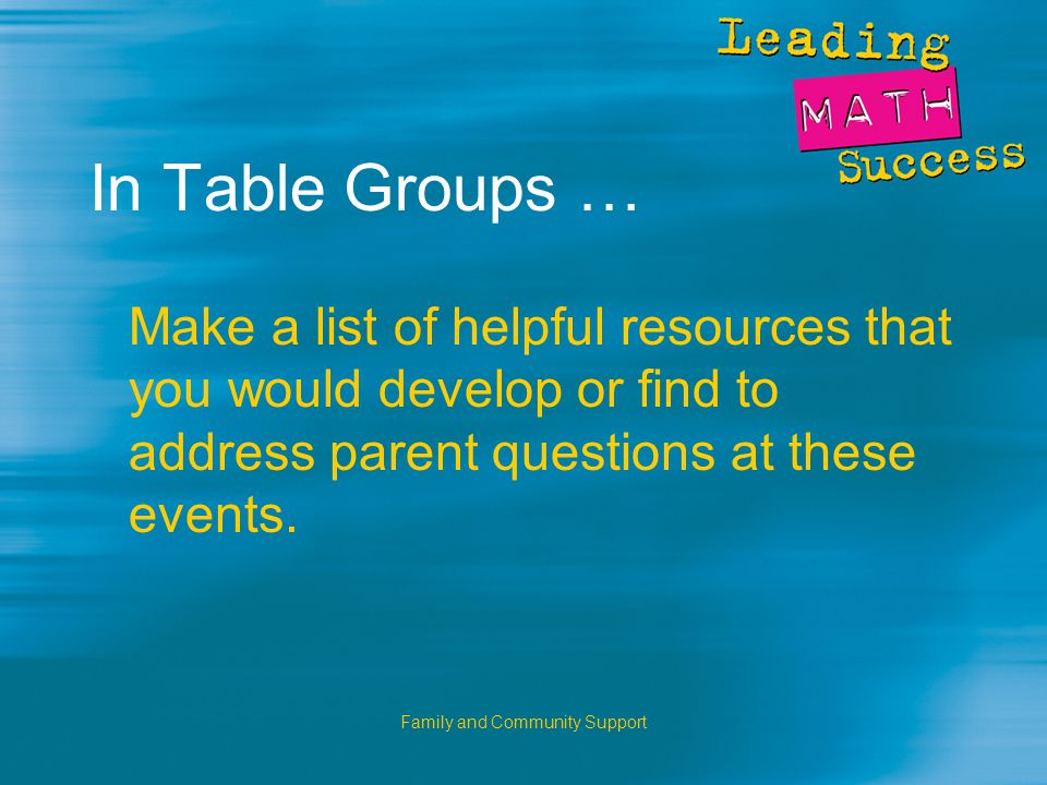Family and Community Support In Table Groups … Make a list of helpful resources that you would develop or find to address parent questions at these events.
