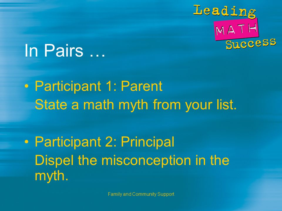 Family and Community Support In Pairs … Participant 1: Parent State a math myth from your list.