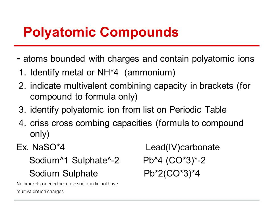 Chemistry 11 compounds and formulas by justin pouliot ppt download polyatomic compounds atoms bounded with charges and contain polyatomic ions 1entify metal or urtaz Choice Image
