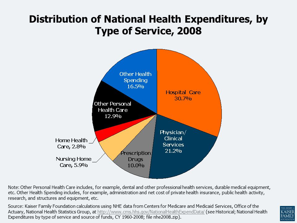 Distribution of National Health Expenditures, by Type of Service, 2008 Note: Other Personal Health Care includes, for example, dental and other professional health services, durable medical equipment, etc.