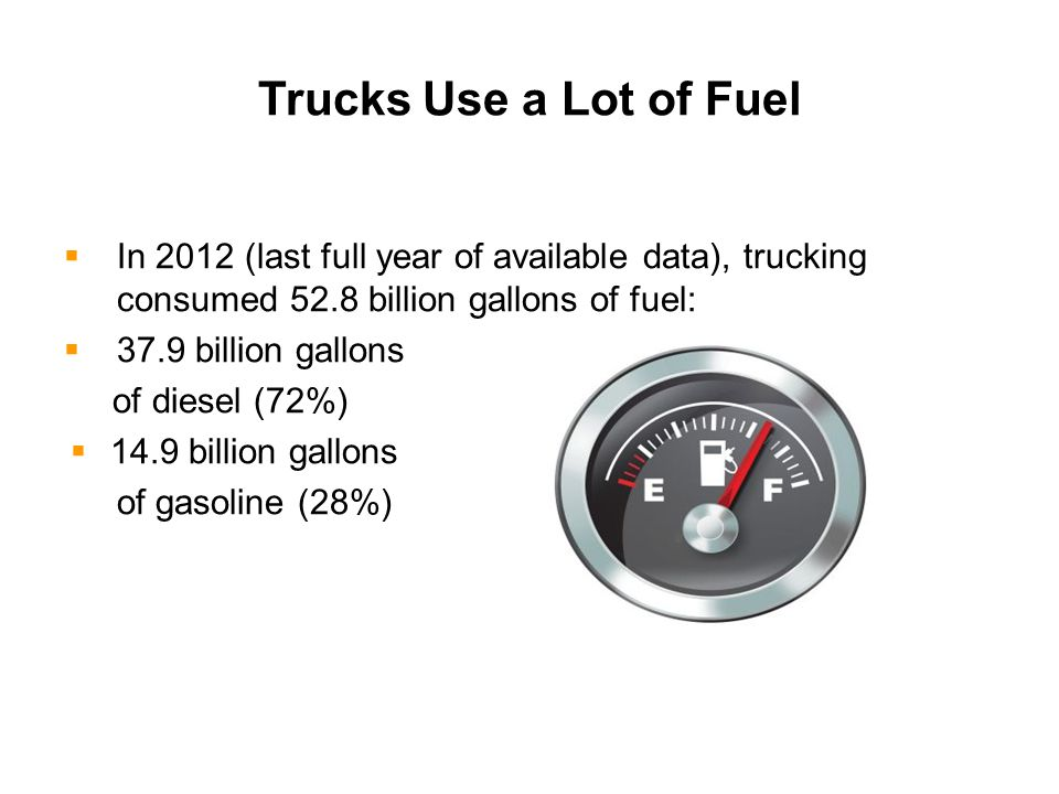  In 2012 (last full year of available data), trucking consumed 52.8 billion gallons of fuel:  37.9 billion gallons of diesel (72%)  14.9 billion gallons of gasoline (28%) Trucks Use a Lot of Fuel