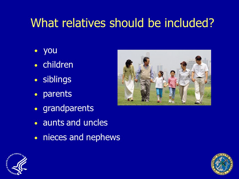 What relatives should be included.