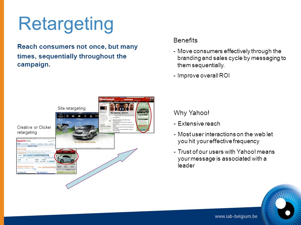 Retargeting Reach consumers not once, but many times, sequentially throughout the campaign.