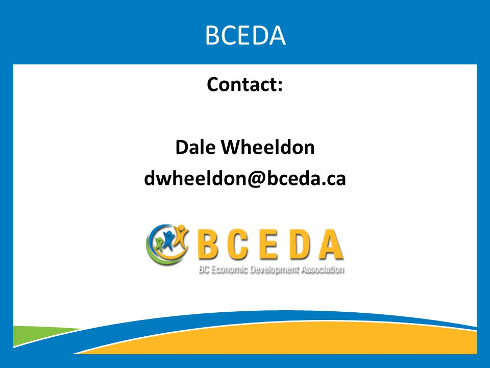 Contact: Dale Wheeldon BCEDA