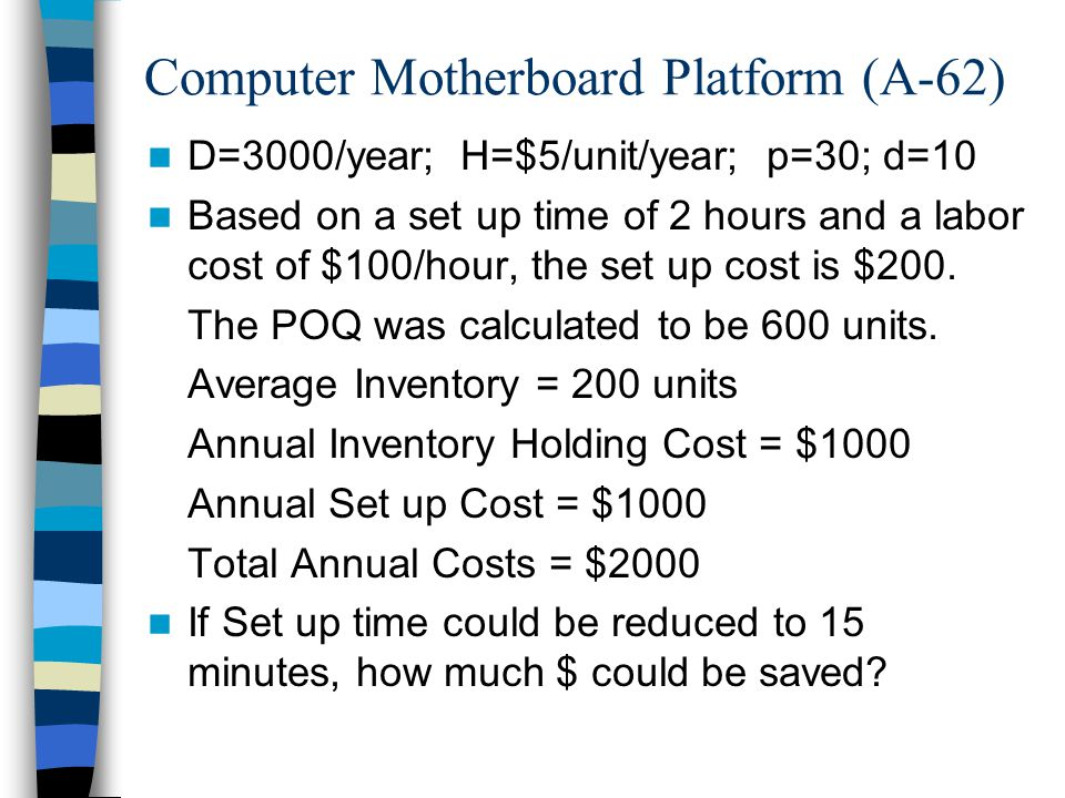 Computer Motherboard Platform (A-62) D=3000/year; H=$5/unit/year; p=30; d=10 Based on a set up time of 2 hours and a labor cost of $100/hour, the set up cost is $200.