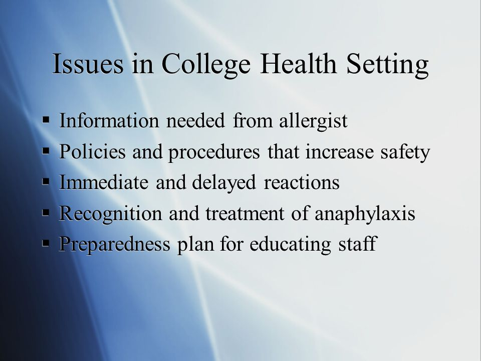 Allergy Immunotherapy in the College Health Setting New York