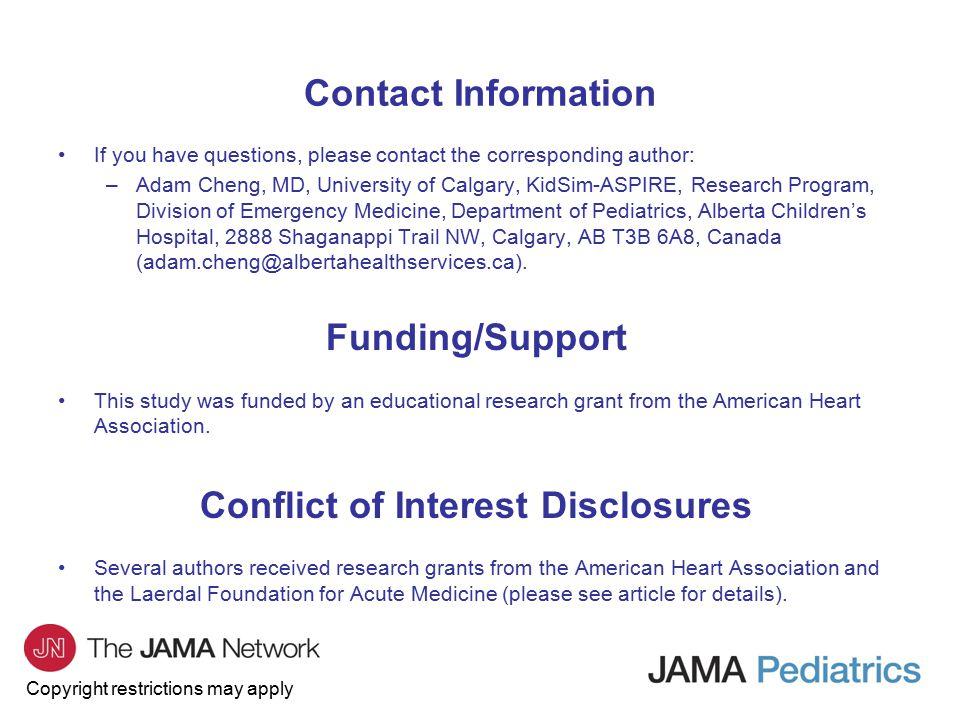 Copyright Restrictions May Apply Jama Pediatrics Journal Club Slides