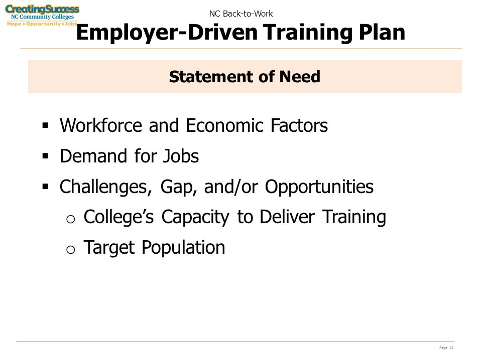 NC Back-to-Work Employer-Driven Training Plan Page 12 Statement of Need  Workforce and Economic Factors  Demand for Jobs  Challenges, Gap, and/or Opportunities o College's Capacity to Deliver Training o Target Population