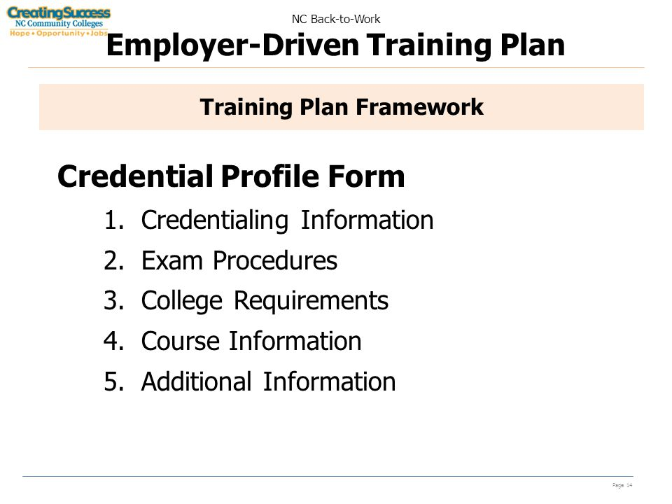 NC Back-to-Work Employer-Driven Training Plan Page 14 Training Plan Framework Credential Profile Form 1.Credentialing Information 2.Exam Procedures 3.College Requirements 4.Course Information 5.Additional Information