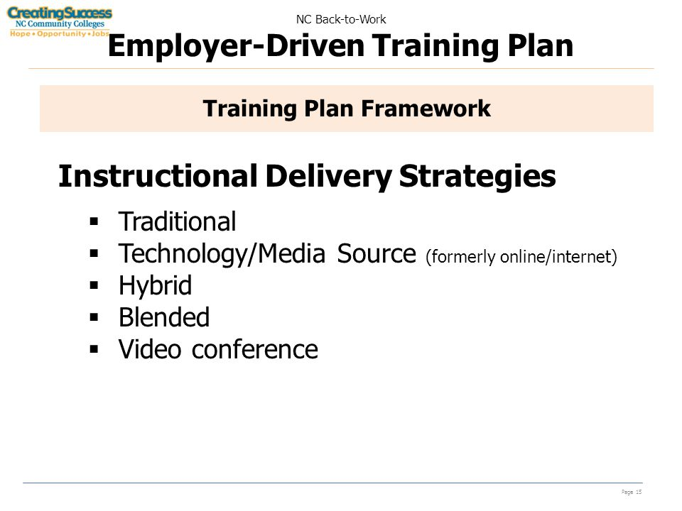 NC Back-to-Work Employer-Driven Training Plan Page 15 Training Plan Framework Instructional Delivery Strategies  Traditional  Technology/Media Source (formerly online/internet)  Hybrid  Blended  Video conference