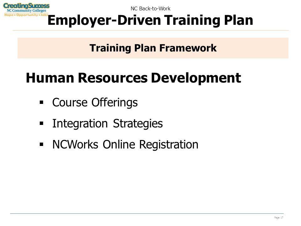 NC Back-to-Work Employer-Driven Training Plan Page 17 Training Plan Framework Human Resources Development  Course Offerings  Integration Strategies  NCWorks Online Registration