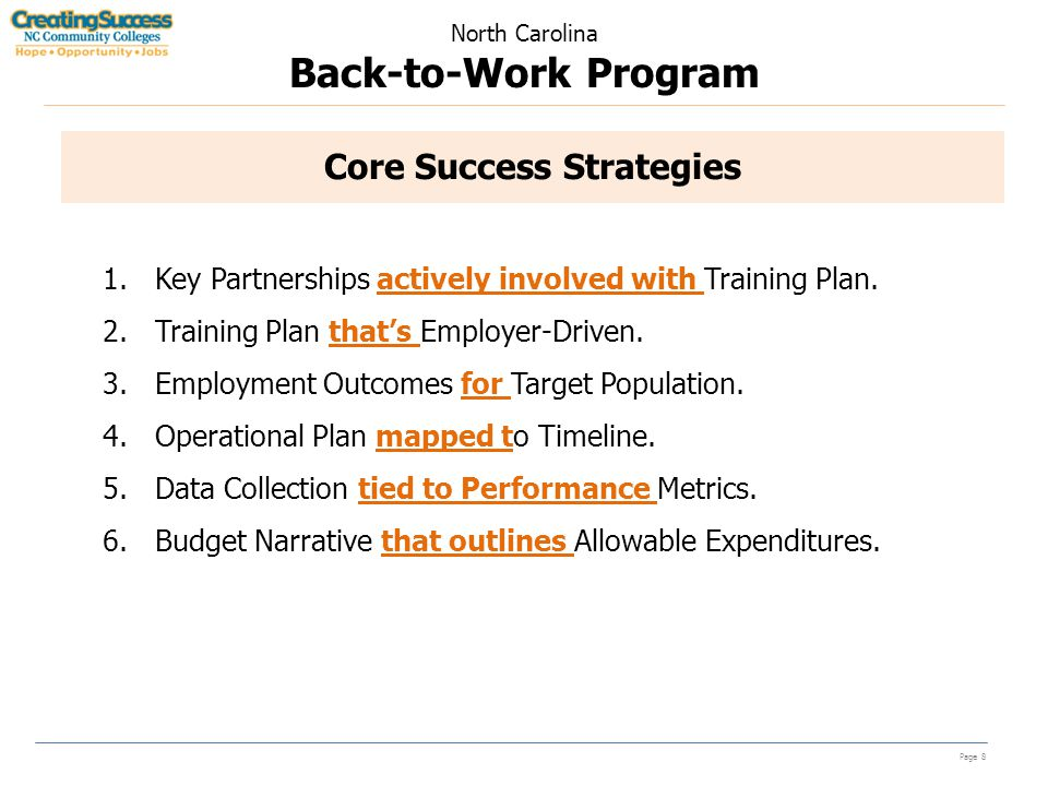 North Carolina Back-to-Work Program Page 8 Core Success Strategies 1.Key Partnerships actively involved with Training Plan.